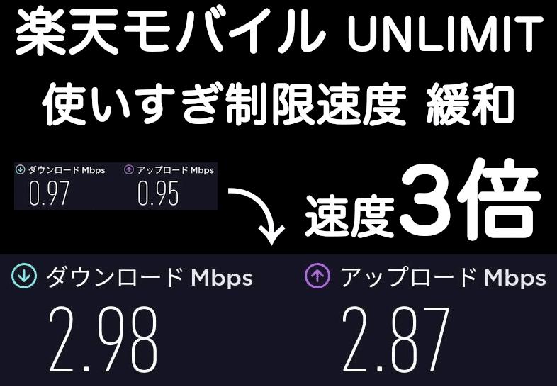 楽天モバイルUN-LIMITの使いすぎの速度制限が大幅緩和