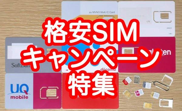 格安SIMのキャンペーンのおすすめランキング