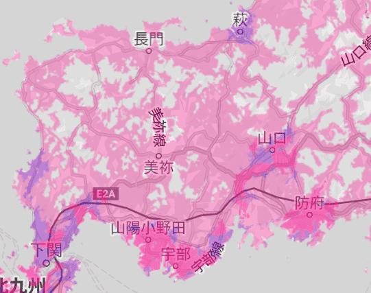 楽天回線エリア(山口)