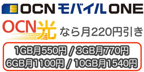 OCN光とOCNモバイルONE
