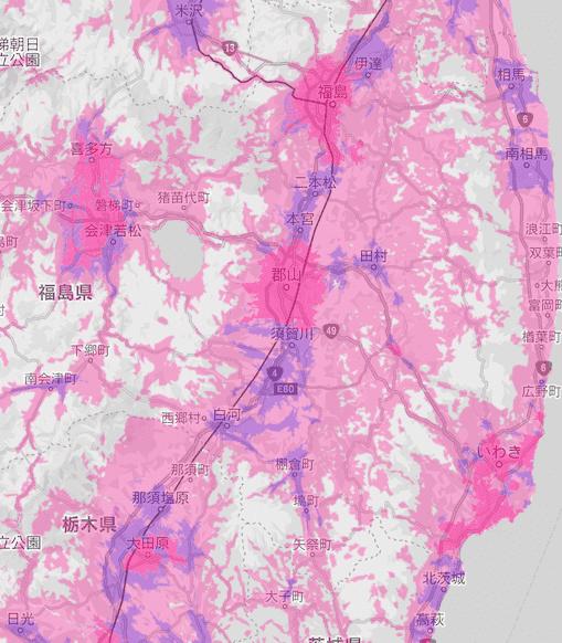 楽天回線エリア(福島)