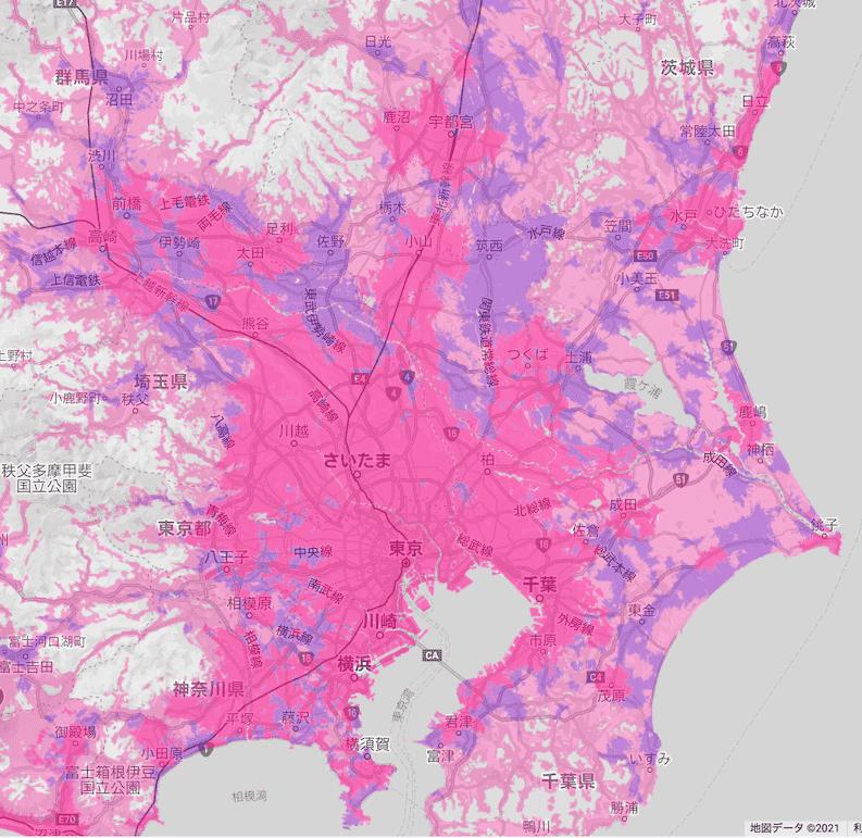 楽天回線エリア(東京、埼玉、神奈川、千葉、茨城、栃木、群馬)