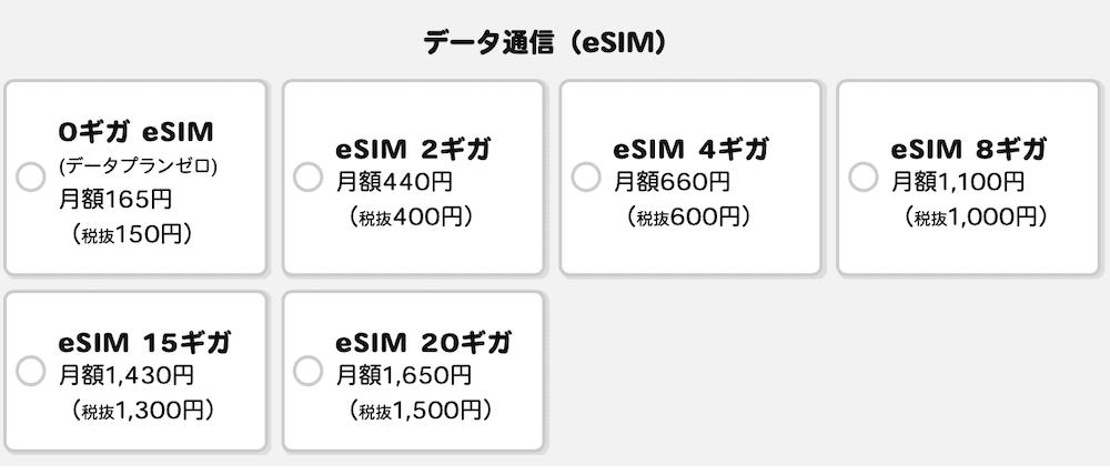 IIJmioのeSIMのデータ量の選択肢画面