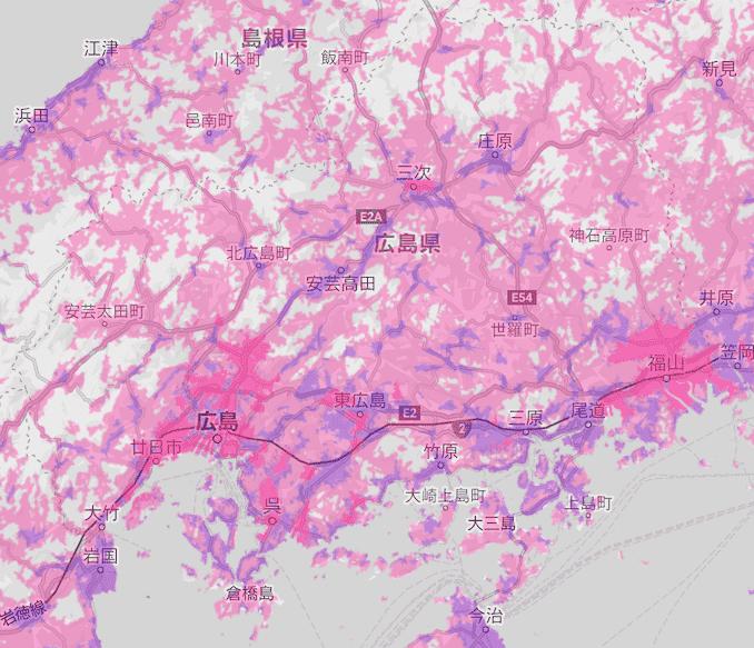 楽天モバイルの広島の電波エリア