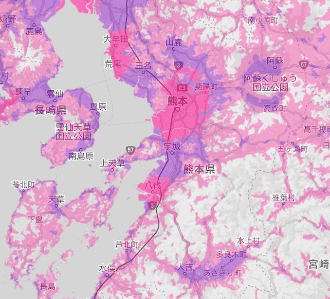 楽天モバイルの熊本県の電波エリア