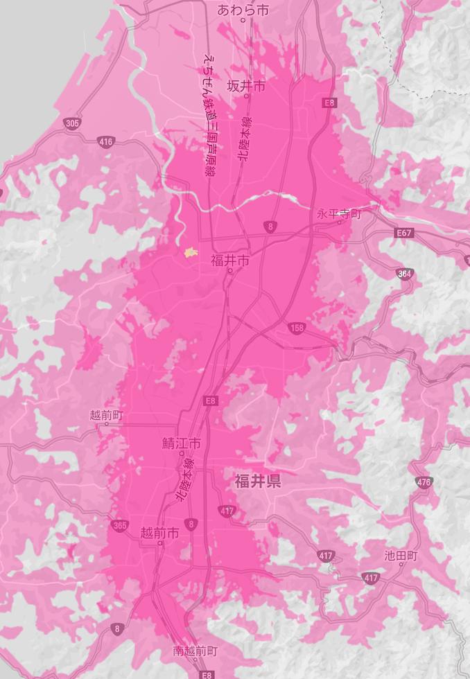楽天モバイルの福井県の5Gエリア