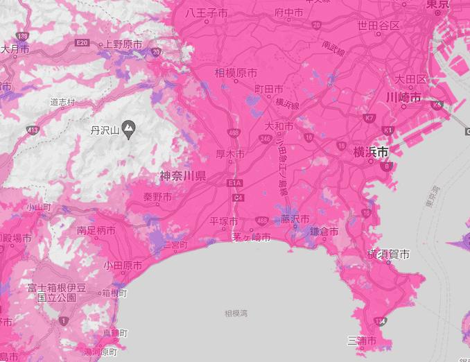 楽天モバイルの神奈川の電波エリア
