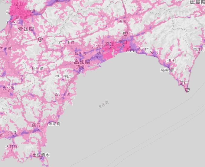 楽天モバイルの高知県の電波エリア