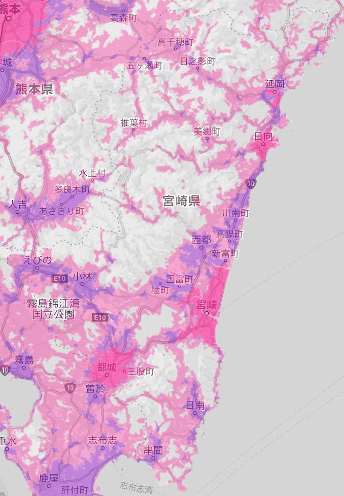 楽天モバイルの宮崎県の電波エリア
