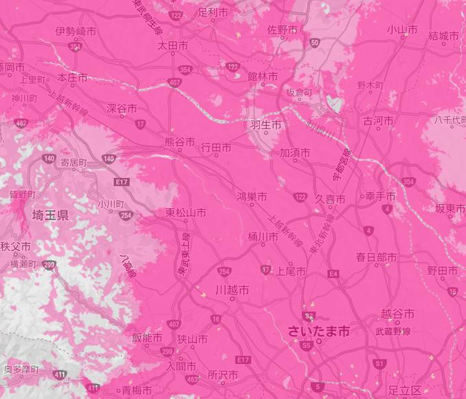 楽天モバイルの埼玉の5Gエリア