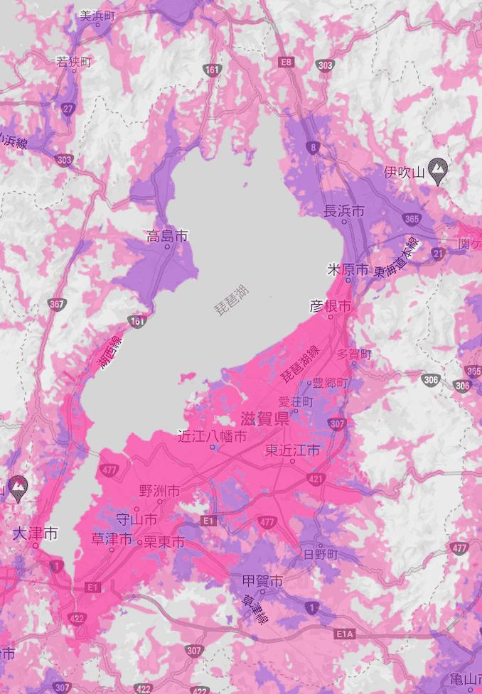 楽天モバイルの滋賀県の電波エリア