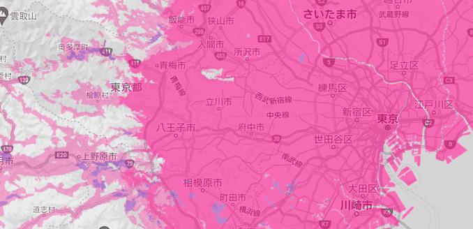 楽天モバイルの東京の電波エリア