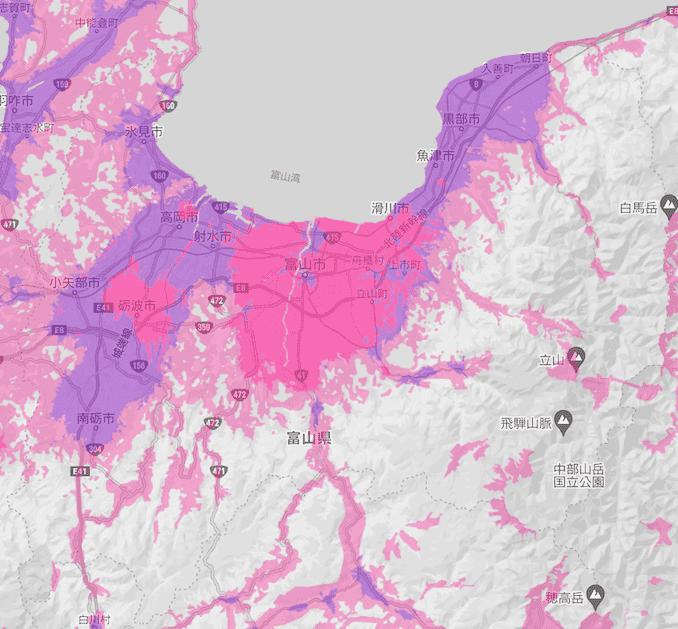 楽天モバイルの富山県の電波エリア