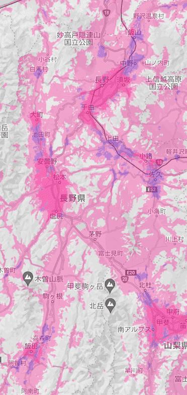楽天回線エリア(長野)