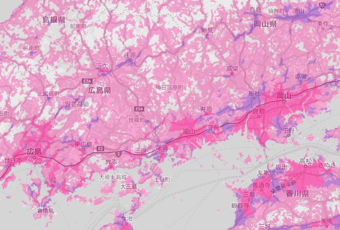 楽天回線エリア(岡山と広島)