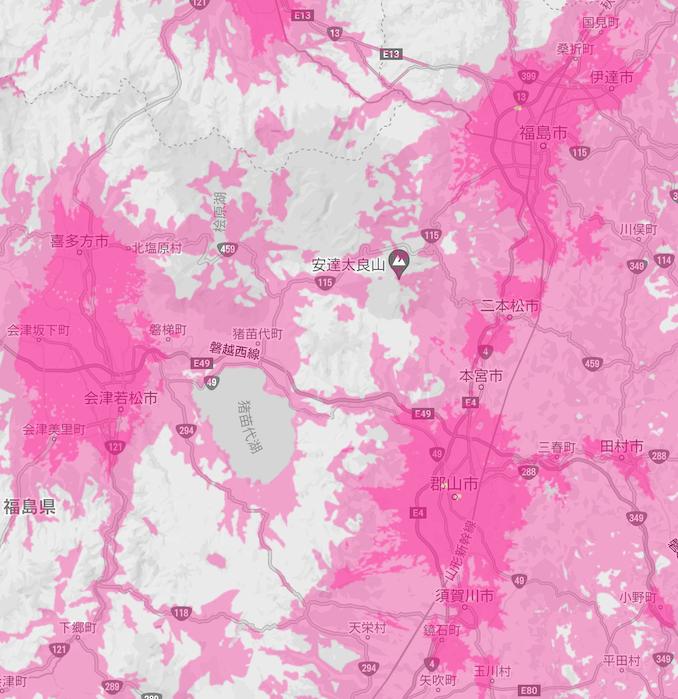 楽天モバイルの福島県の5Gエリア