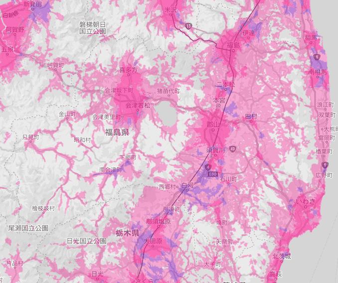 楽天モバイルの福島県の電波エリア