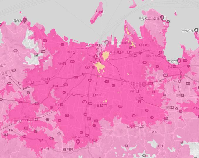 楽天モバイルの香川県の5Gエリア