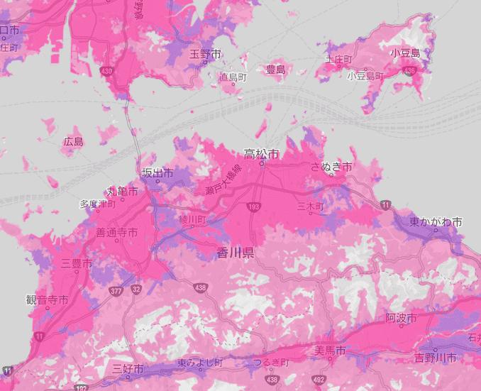 楽天モバイルの香川県の電波エリア