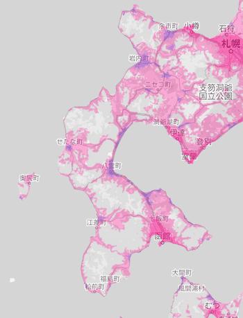 楽天回線エリア(北海道2)