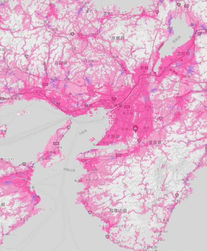 楽天回線エリア(大阪、京都、奈良、神戸、滋賀、和歌山)