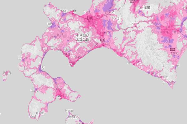 楽天モバイルの北海道2の電波エリア