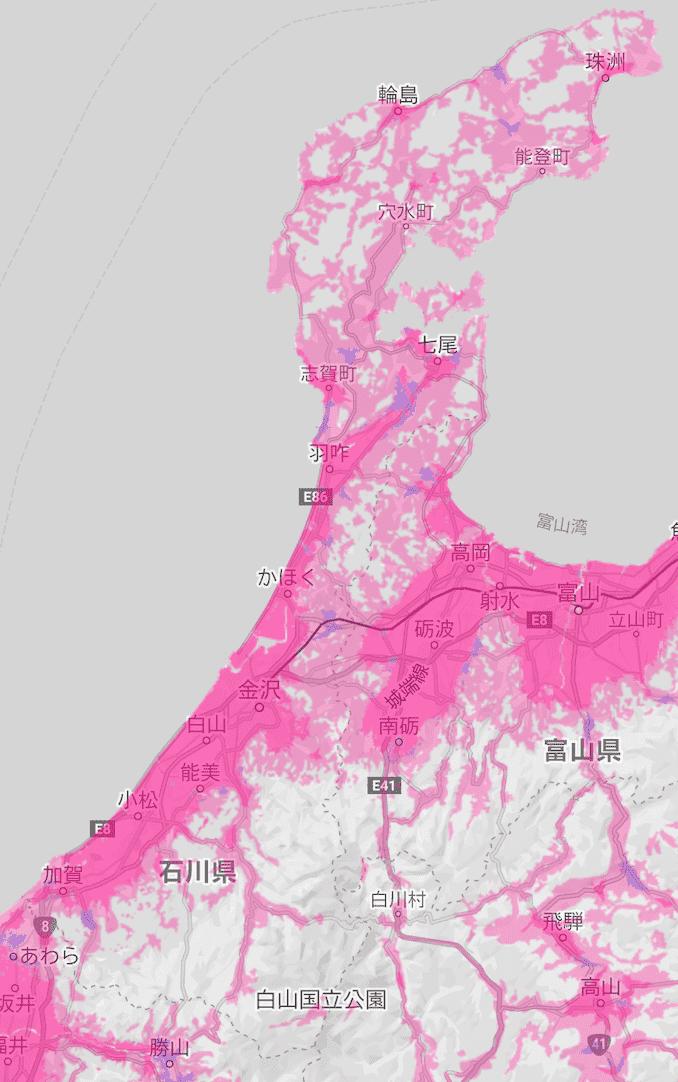 楽天モバイルの石川県の電波エリア