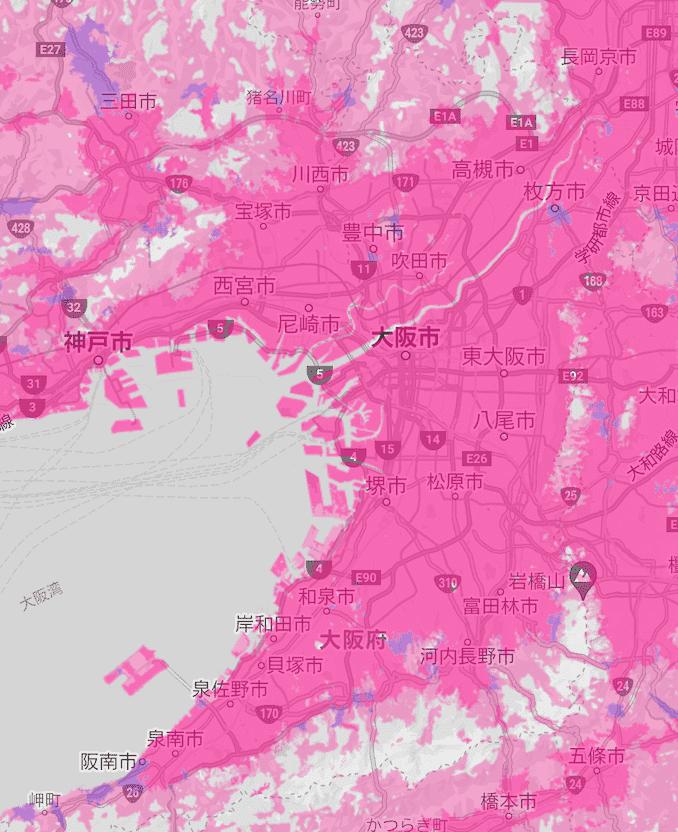 楽天モバイルの大阪の電波エリア