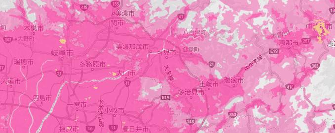 楽天モバイルの岐阜県の5Gエリア