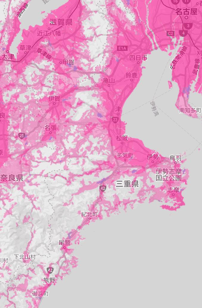 楽天モバイルの三重県の電波エリア