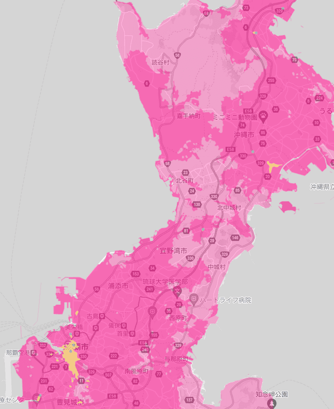 楽天モバイルの沖縄の5Gエリア1