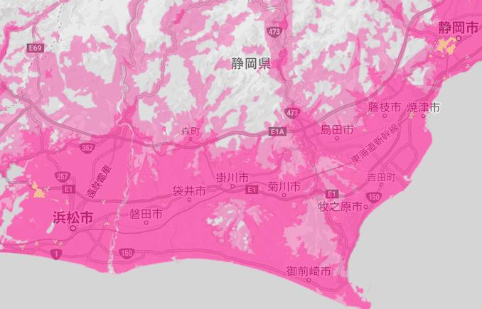 楽天モバイルの静岡県の5Gエリア