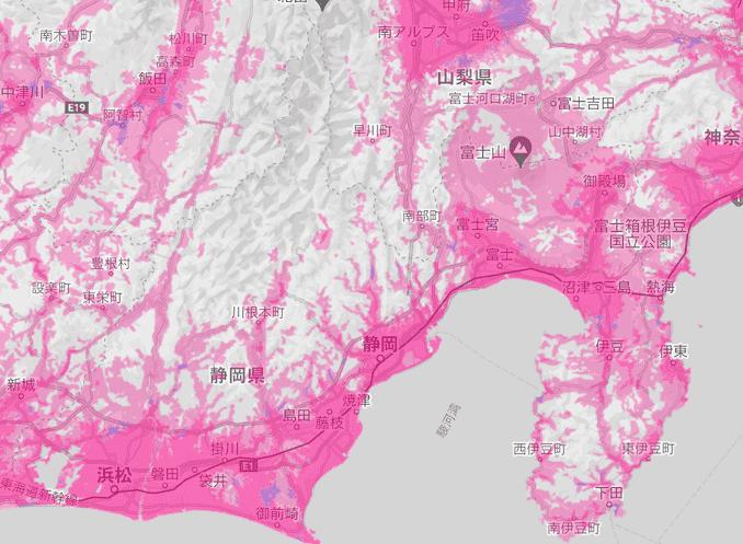 楽天モバイルの静岡県の電波エリア